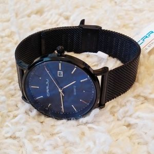 CRRJU Black and Blue Men's Mesh Band Watch -NEW